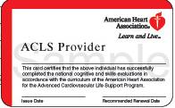 AHA ACLS Provider Card